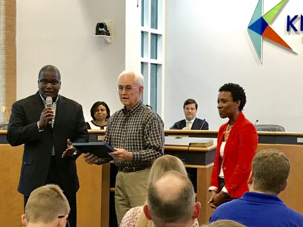 Knightdale presents award to SeniorTechEd